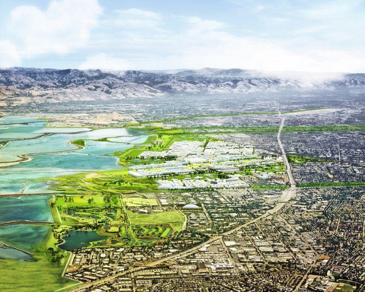 L'area progettuale di South Bay Sponge nella Baia di San Francisco. Vista dell'area dall'alto