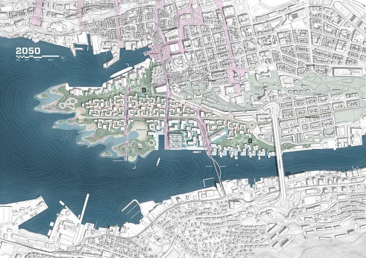 Progetto per la riqualificazione dei docks di Bergen in Norvegia al 2050