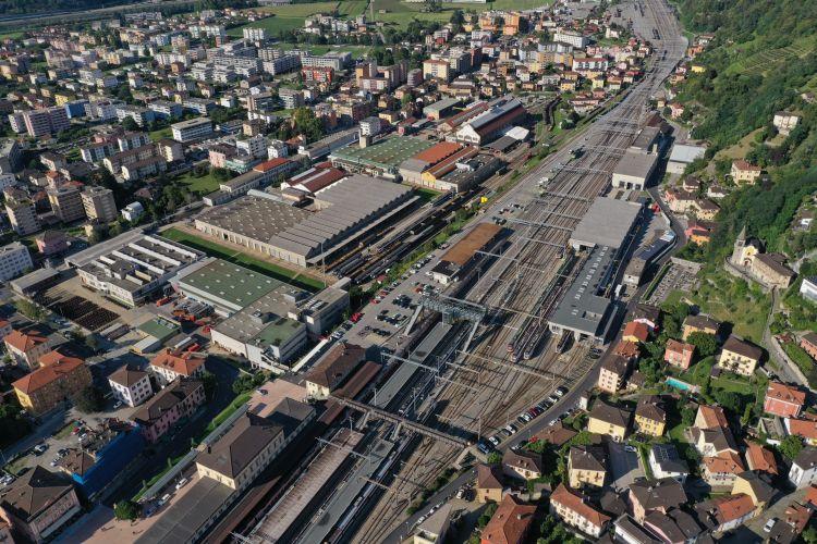 La zona dello scalo ferroviario di Bellinzona oggi