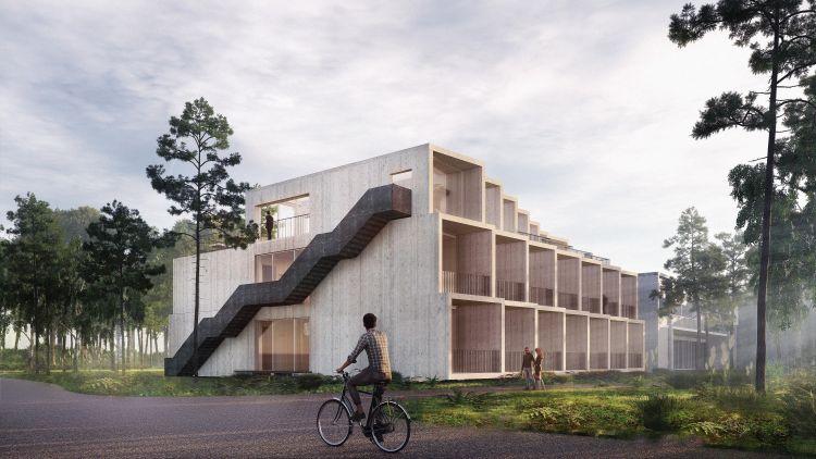Legno per il nuovo albergo a Rønne, sull'isola danese di Bornholm