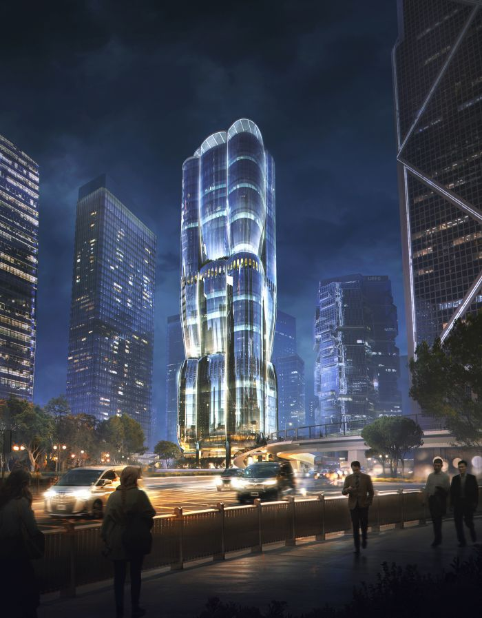 Le luci della torre Murray Road a Hong Kong di notte