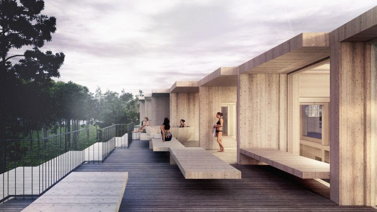 La spa in copertura dell'Hotel Green Solution House a Rønne in Danimarca