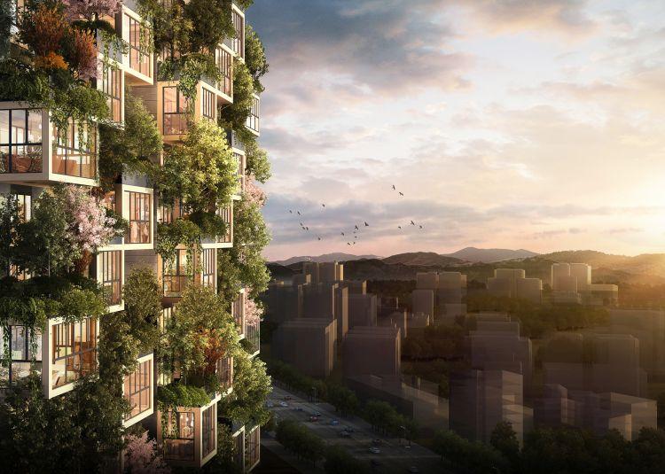 Render del Bosco verticale di Huanggang in Cina, progetto di Stefano Boeri Architetti