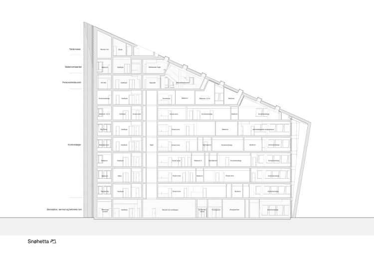 Sezione dell'edificio Powerhouse Telemark in Norvegia