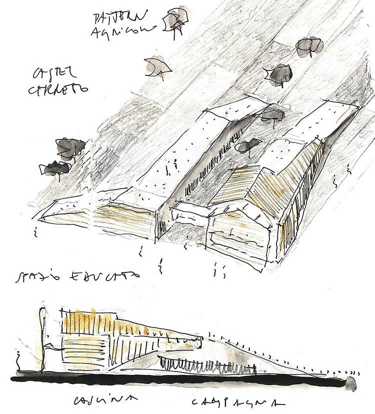 Castel Cerreto: schizzi del nuovo asilo in mezzo alla campagna