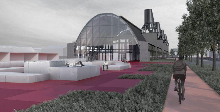 Rendering di progetto della vista di accesso alla Cittadella della cultura di Ravenna