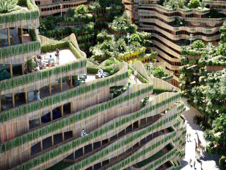 le grandi terrazze del complesso Mitosis ad Amsterdam