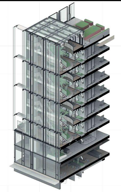 Sezione della nuova facciata della nuova sede Enel a Roma