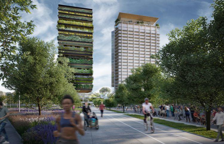 Progetto P39 di via Gioia a Milan: L'edificio a ponte e la grande serra visti da sud
