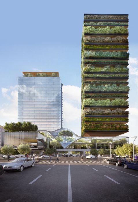 progetto P39 di via Gioia a Milano: I due edifici e la struttura a ponte visti da nord