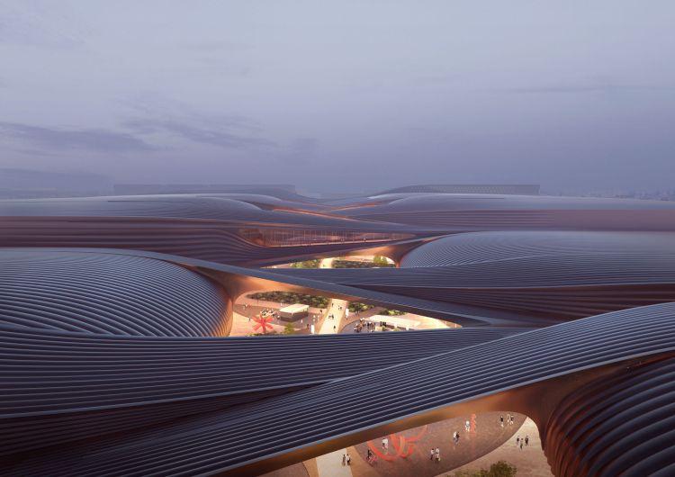 Render delle coperture dell'International Exhibition Centre di Pechino