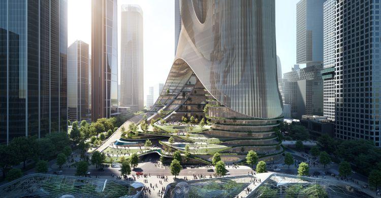 Render della Torre C del Shenzhen Bay Super Headquarters