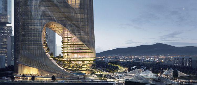 La facciata esterna della Torre C del Shenzhen Bay Super Headquarters