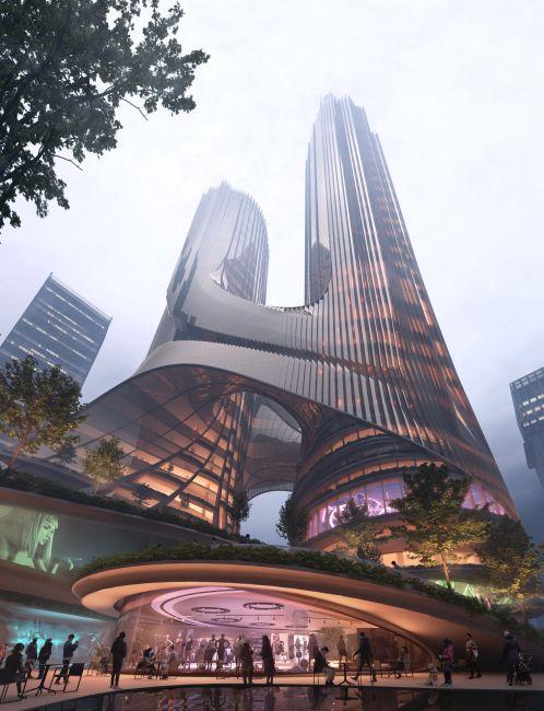 Render della Torre C del Shenzhen Bay Super Headquarters raggiunge circa 400 metri di altezza
