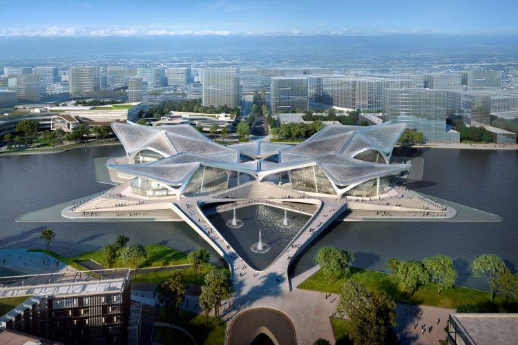 Render del Zhuhai Jinwan Civic Arts Centre in costruzione a Zhuhai