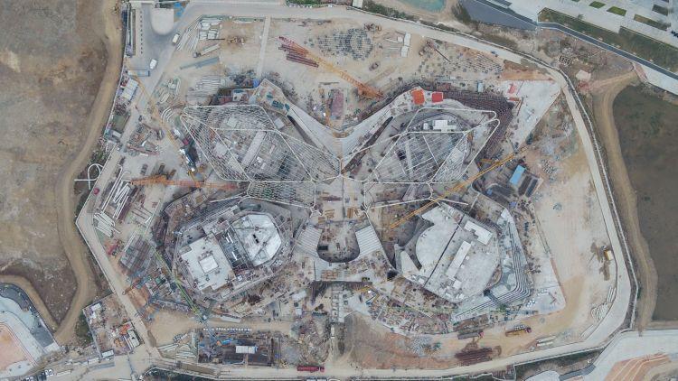 La fase costruttiva del Civic Art Center by ZHA in Cina