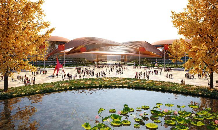 Render dell'International Exhibition Centre di Pechino