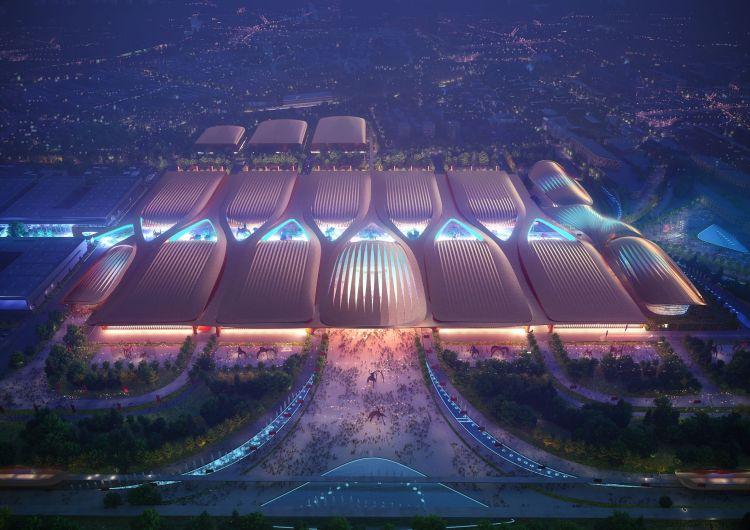 Render con vista notturna dell'International Exhibition Centre di Pechino