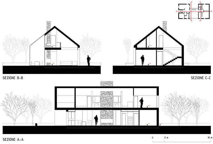 Casa 4 a Magnago, sezioni