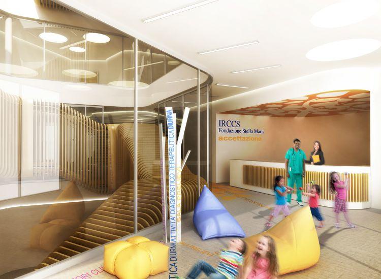 Interno nuovo ospedale neuropsichiatrico infantile della Fondazione Stella Maris a Pisa
