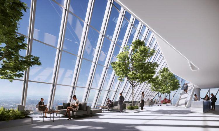 Gli interni della O-Tower, firmata dallo Studio BIG