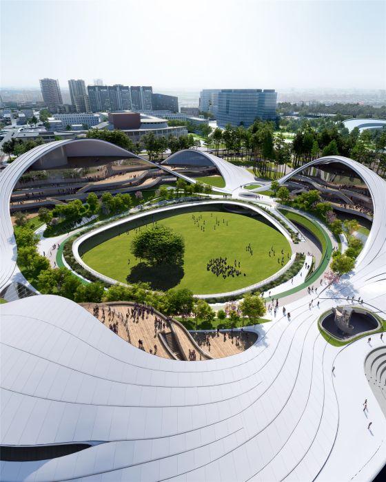 Il grande prato al centro dello Jiaxing Civic Center