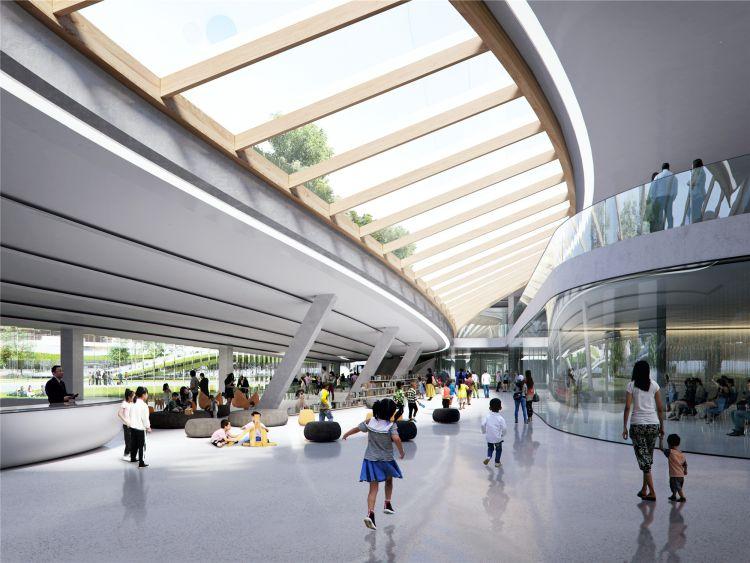 Grandi vetrate all'interno dello Il Jiaxing Civic Center