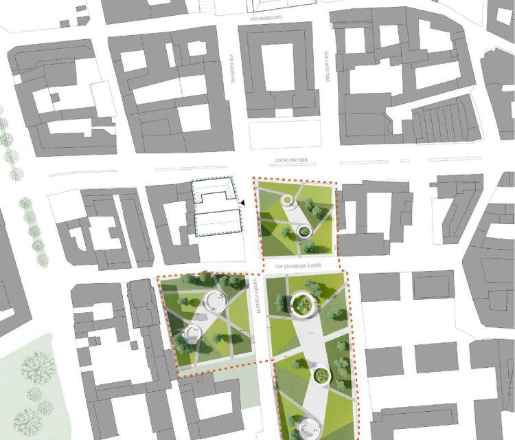 Riqualificazione del centro di Busto Arsizio: Planimetria dell'area di intervento sull'ex Villa Bossi-Radeztky