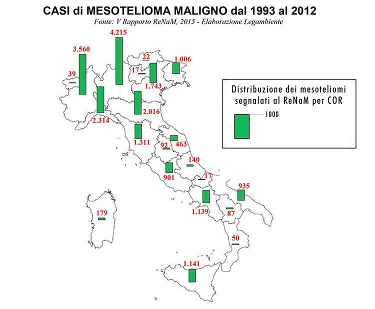 Amianto: Casi di mesotelioma maligno in Italia dal 1993 al 2012. Fonte Legambiente