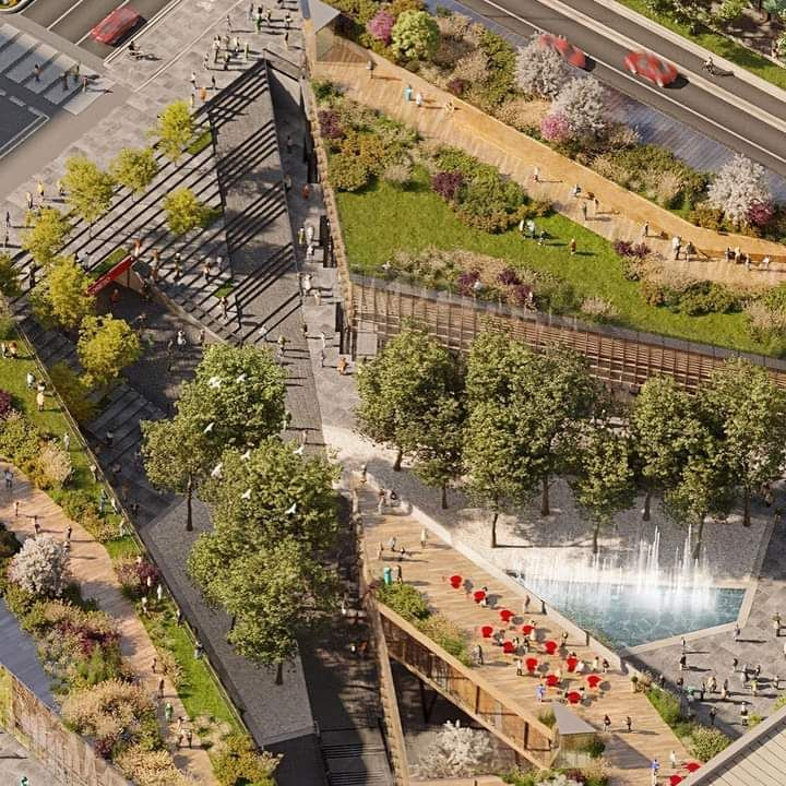 Riqualificazione piazzale Loreto a Milano, particolare dell'area verde