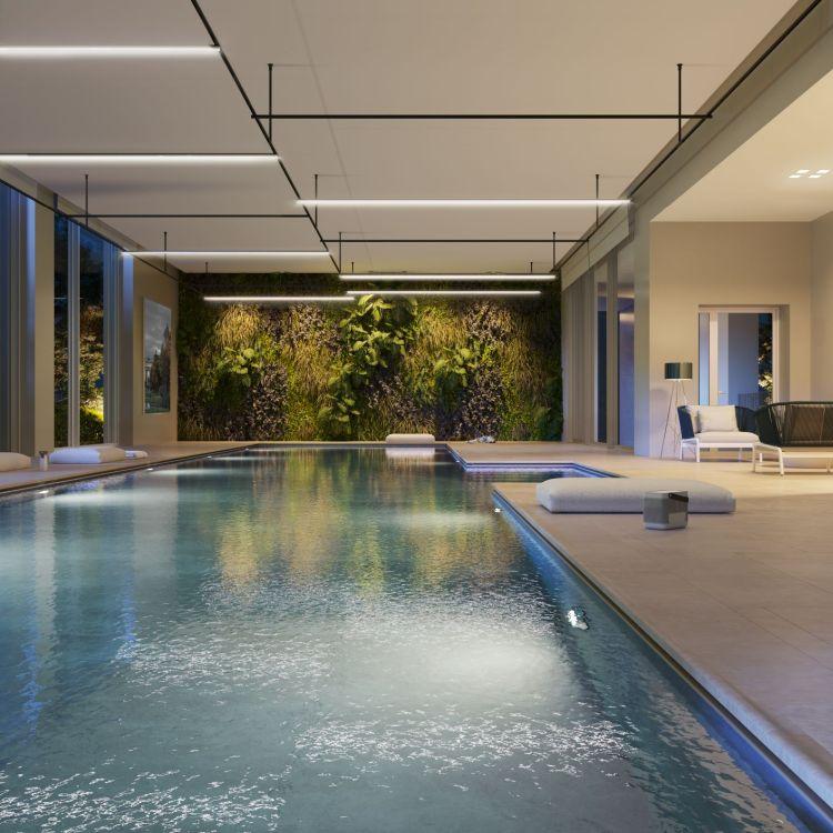 Torre Milano: la piscina al piano terra