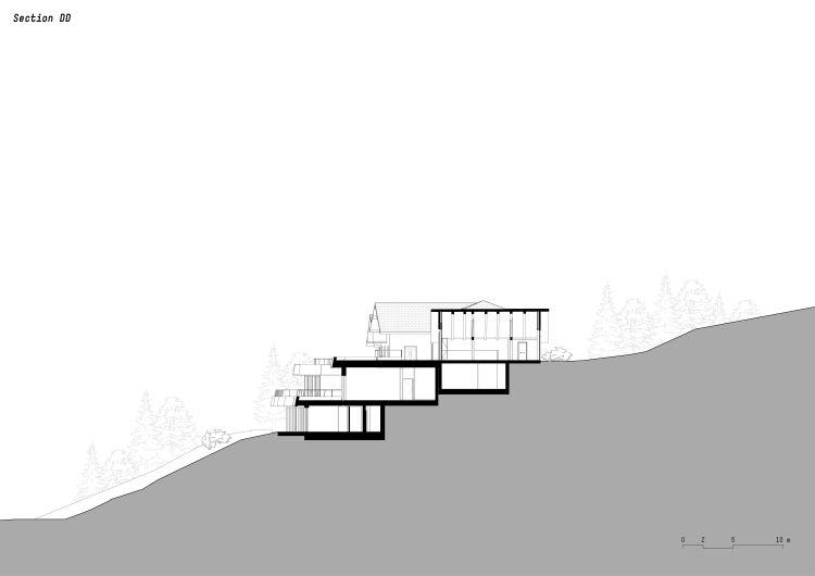 Sezione trasversale dell'hotel Gfell con il fienile al piano superiore