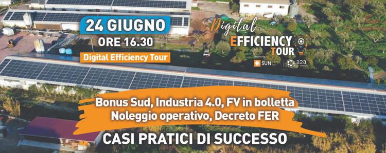 Digital Efficiency Tour: Bonus Sud, Industria 4.0., Fotovoltaico in bolletta, Noleggio operativo e Decreto FER