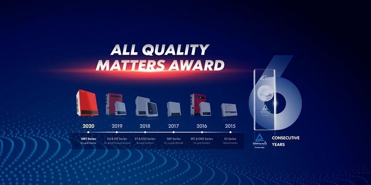 GoodWe vince il premio TÜV Rheinland All Quality con l'inverter SMT