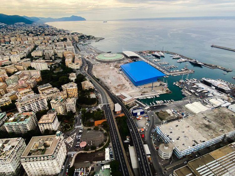Vista dall'alto dell'area del masterplan del il Waterfront di Levante a Genova