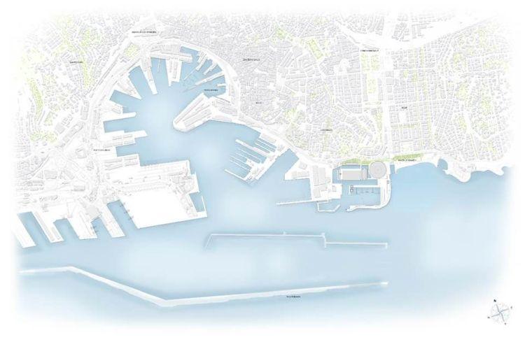 Planimetria dell'area portuale di Genova; a destra il Waterfront di Levante