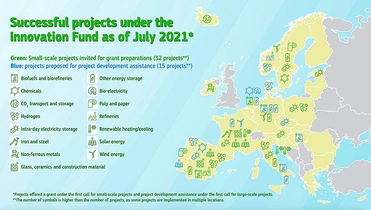 Mappa progetti Innovation Fund in Europa