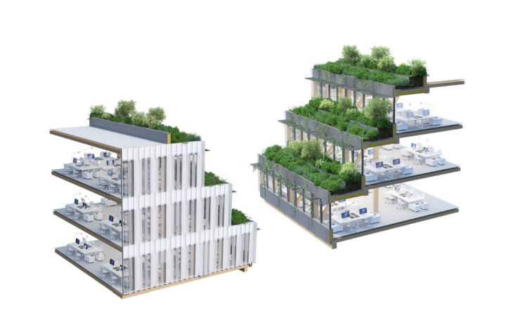 Echo a Lille, edificio con terrazze verdi a cascata. Render vista interna