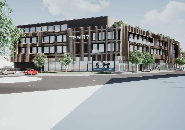 Render della nuova sede di Team 7 a Ried in Innkreis, in Alta Austria