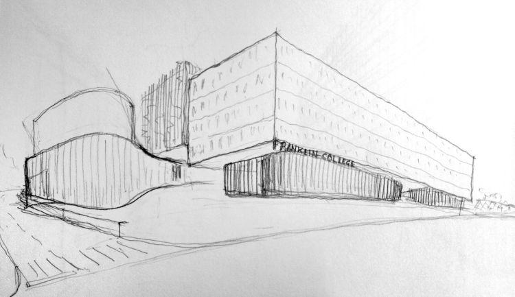 Schizzo del nuovo campus Franklin University Switzerland