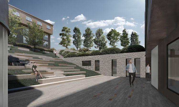 L'atrio del corpo residenziale del nuovo campus Franklin University Switzerland