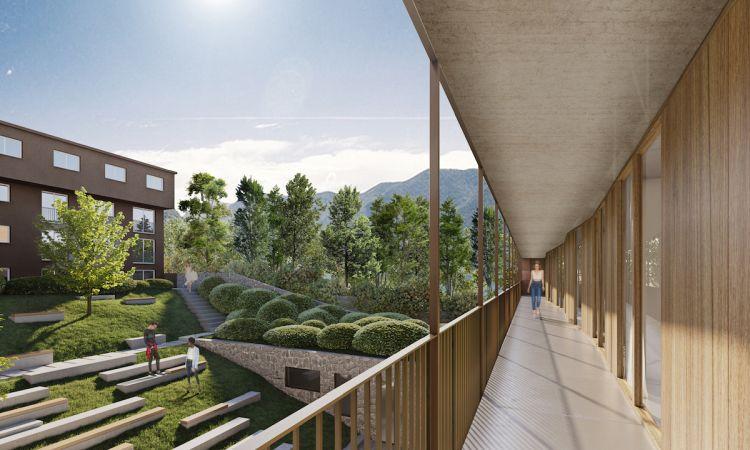 Il corpo residenziale del nuovo campus Franklin University Switzerland